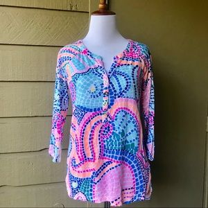 Lilly Pulitzer Linen 3/4 Sleeve Blouse Size Small